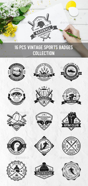 Vintage Sport Badges - Sports/Activity Conceptual