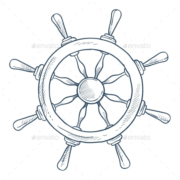 Marine Symbol Steering or Rudder Wheel Ship Part - Man-made Objects Objects