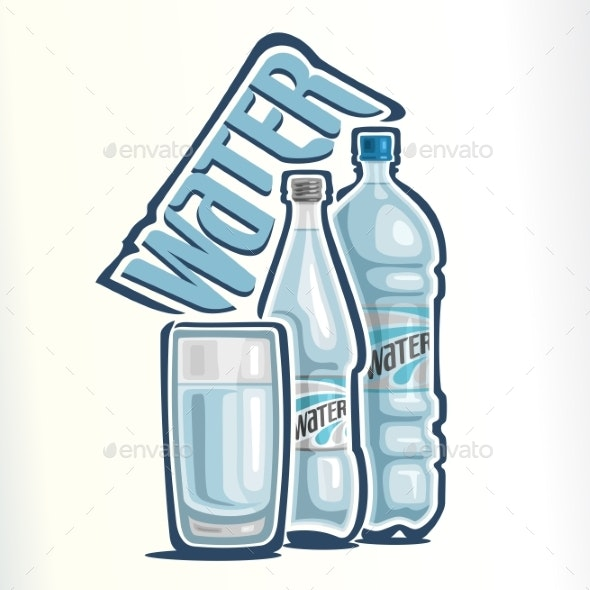 Vector Logo for Drinking Water - Food Objects