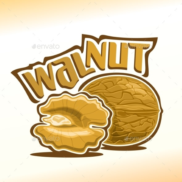 Vector Logo for Walnut - Food Objects