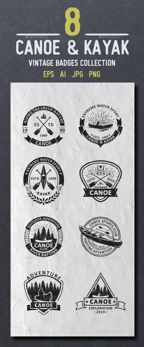 Canoe Logos and Badges - Badges & Stickers Web Elements