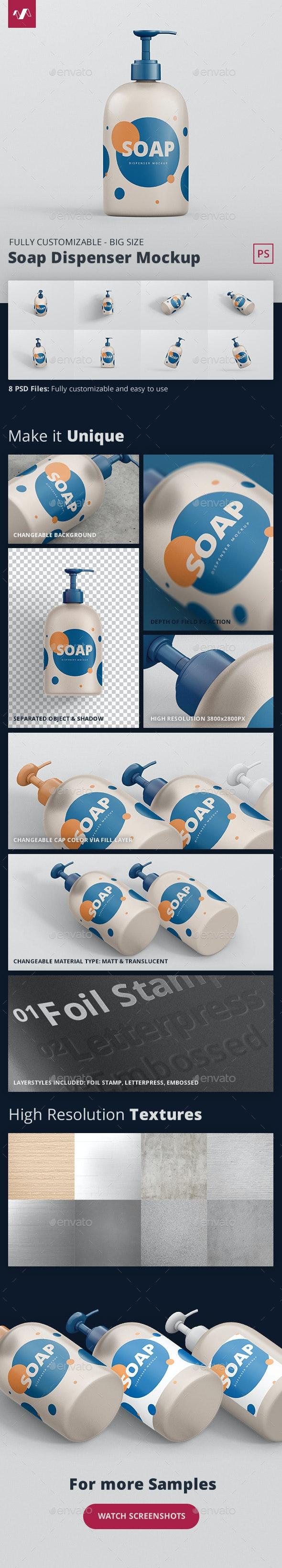 Soap Dispenser Mockup Big Size - Miscellaneous Packaging