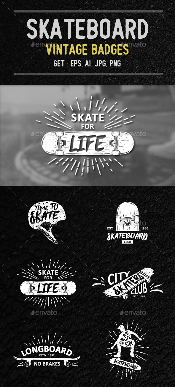Skateboard Badges Collection - Badges & Stickers Web Elements