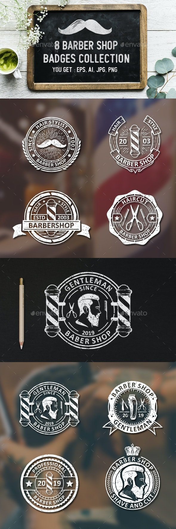 8 Barbershop Logos and Badges - Badges & Stickers Web Elements