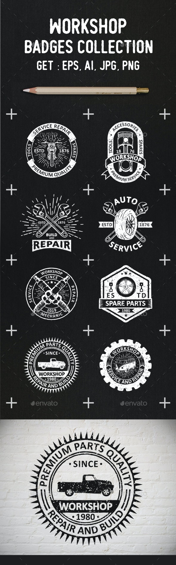 Garage Logos and Badges - Badges & Stickers Web Elements