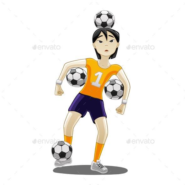 Girl with Football Balls