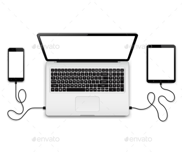 Laptop with Connected Devices - Computers Technology
