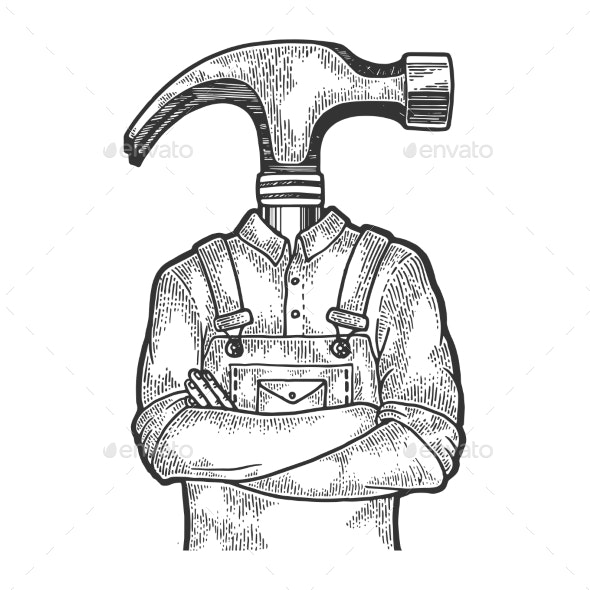 Hammer Head Worker Sketch Engraving Vector - People Characters