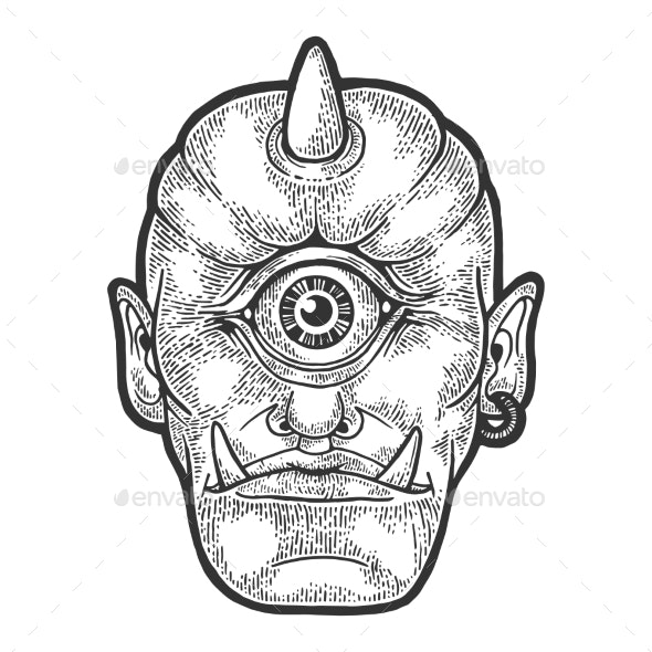 Cyclop Myth Creature Sketch Engraving Vector - People Characters
