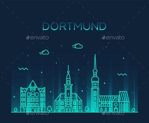 Dortmund Skyline Rhine Westphalia Germany - Buildings Objects