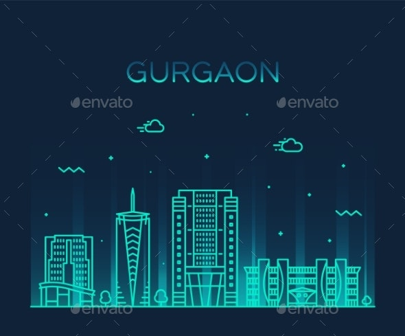 Gurgaon Skyline Haryana India Vector Linear Style - Buildings Objects