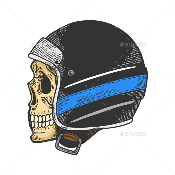 Skull in Motorcycle Helmet Color Sketch Vector - People Characters
