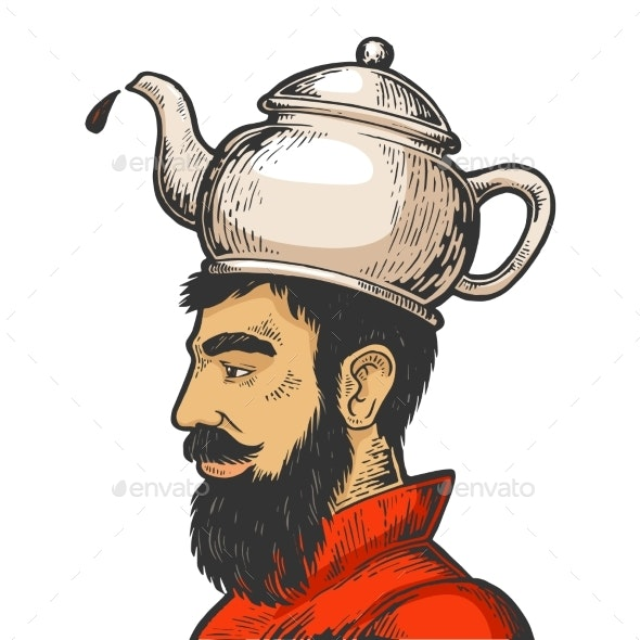 Man with Kettle Teapot Hat Color Sketch Vector - People Characters