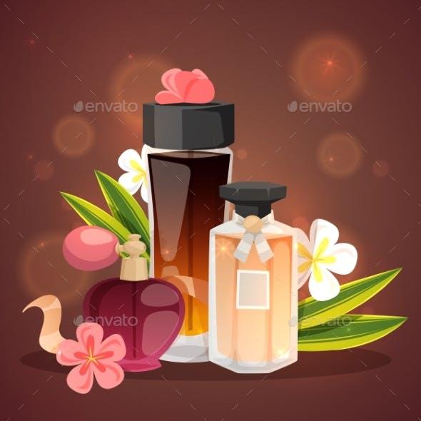 Parfume Bottles with Flower Aroma Banner Vector