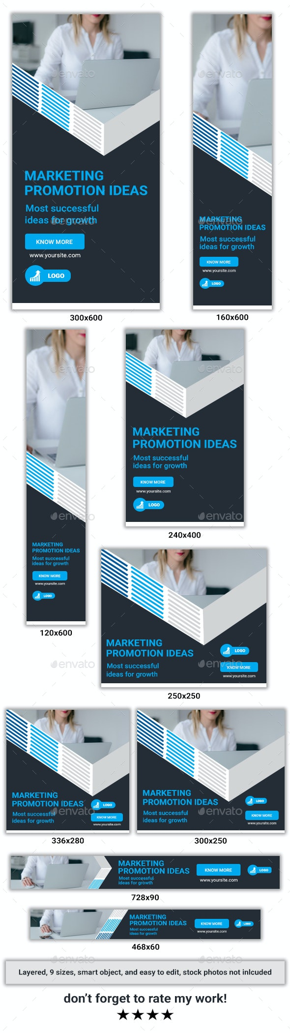 Corporate PSD Banner Ad Template - Banners & Ads Web Elements
