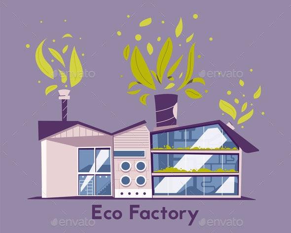 Modern Green Eco Factory Building Cartoon Vector - Industries Business