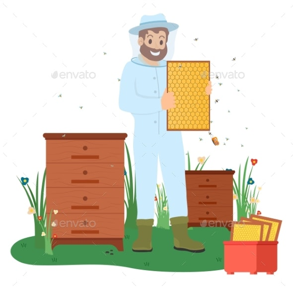 Beekeeper with Bees and Honey Making Business Vector - Industries Business