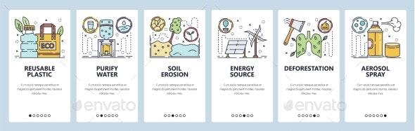 Mobile App Onboarding Screens Soil Erosion - Web Elements Vectors