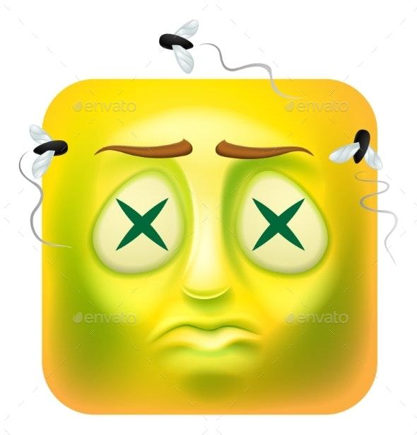 Dead Zombie Emoji Emoticon Icon Cartoon Character - Web Elements Vectors