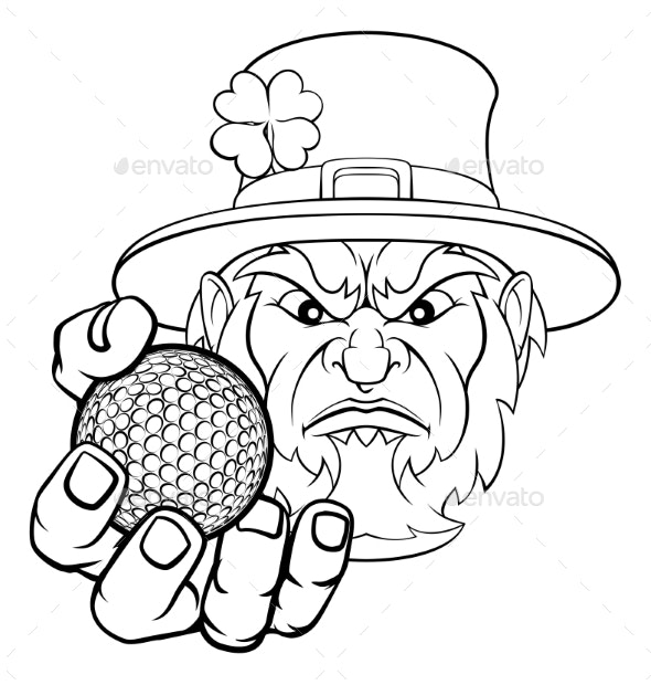 Leprechaun Holding Golf Ball Sports Mascot - Sports/Activity Conceptual
