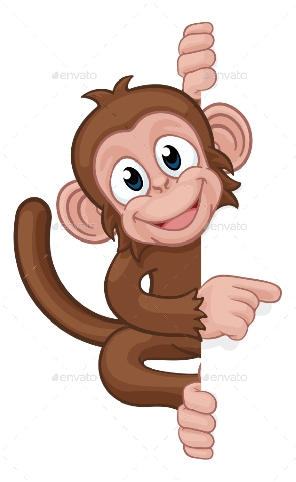 Monkey Cartoon Character Animal Pointing at Sign - Animals Characters