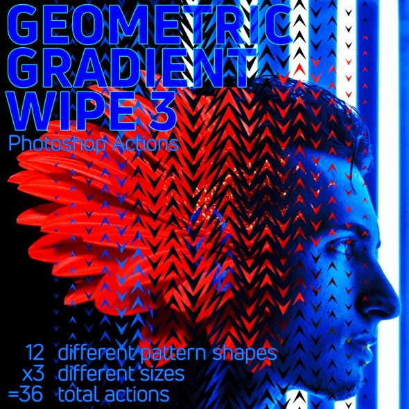 Geometric Gradient Wipe 3 Actions - Photo Effects Actions