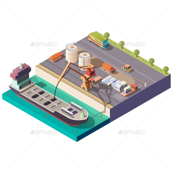 Tanker Ship Loading in Port Isometric Vector - Industries Business