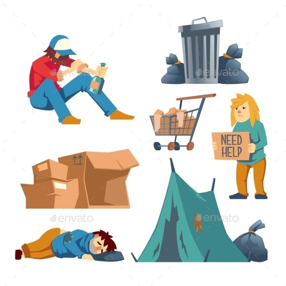 Homeless People Cartoon Vector Characters Set