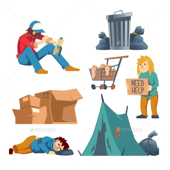Homeless People Cartoon Vector Characters Set - People Characters