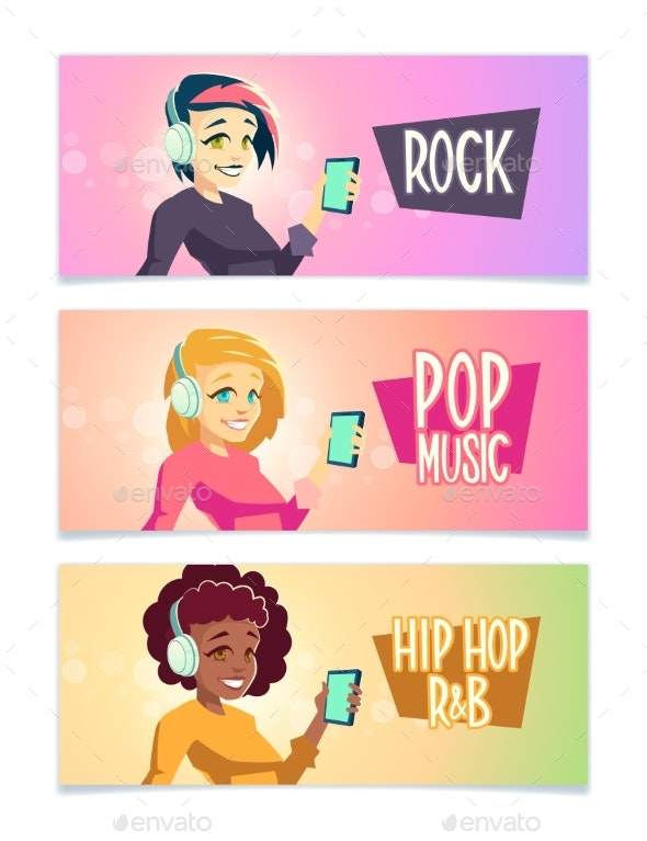 Music Styles Fans Cartoon Vector Banners Set - People Characters
