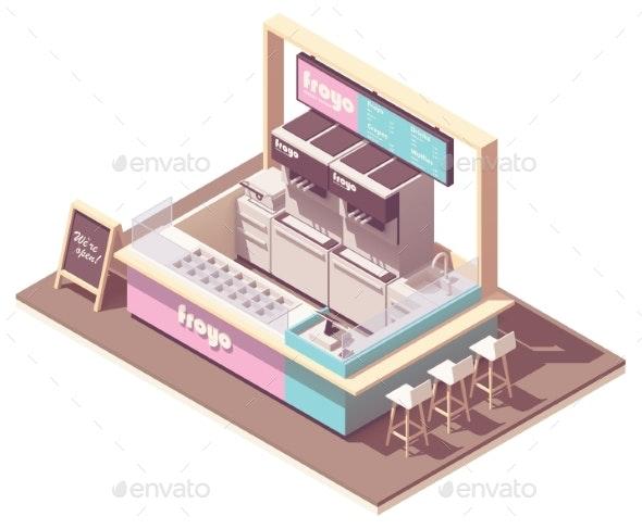 Vector Isometric Frozen Yogurt Kiosk - Buildings Objects