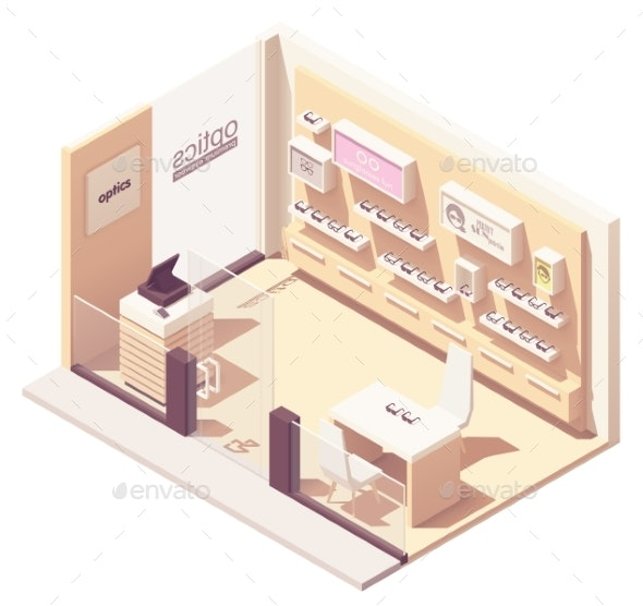 Vector Isometric Eyewear Store - Retail Commercial / Shopping