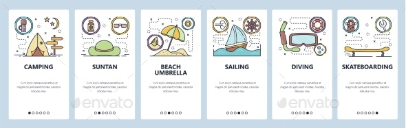 Mobile App Onboarding Screens Summer Leisure - Travel Conceptual