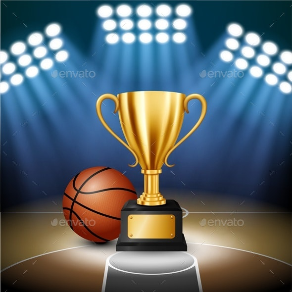 Basketball Championship with Golden Trophy - Sports/Activity Conceptual