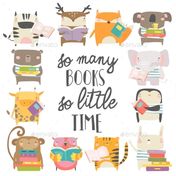 Animals Reading Books on White Background - Animals Characters