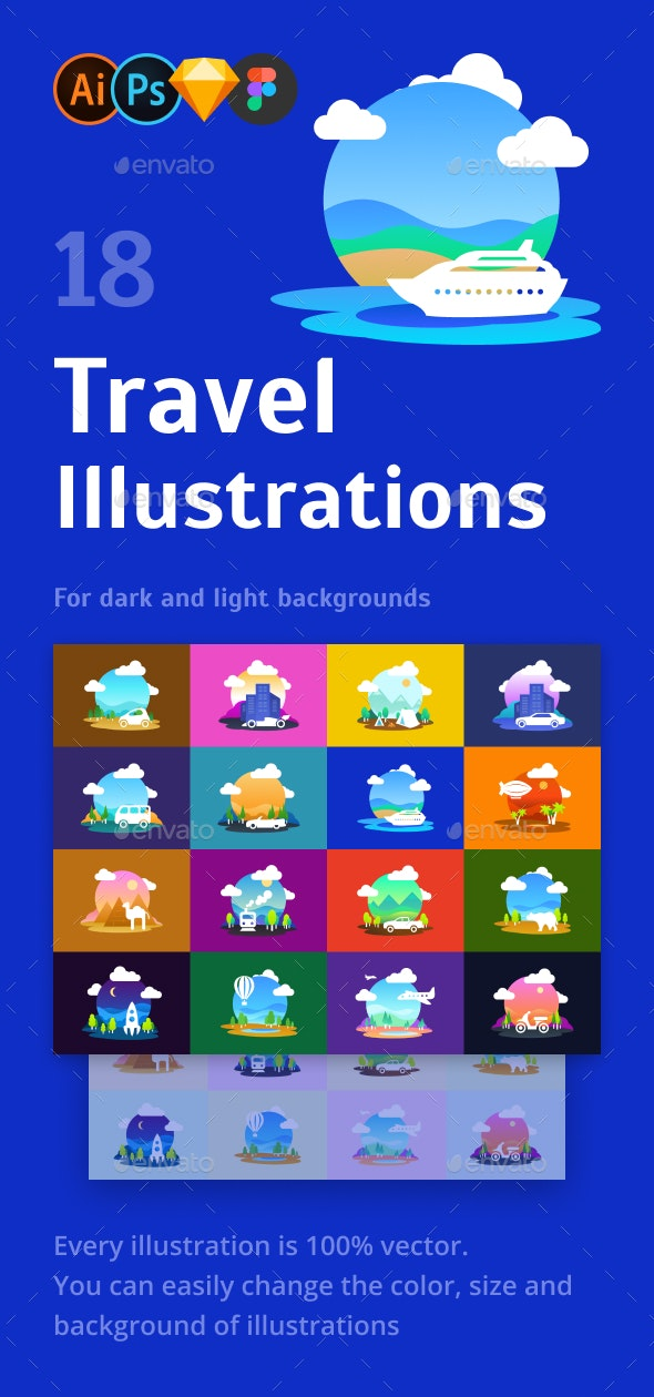 Travel Illustration Set - Travel Conceptual