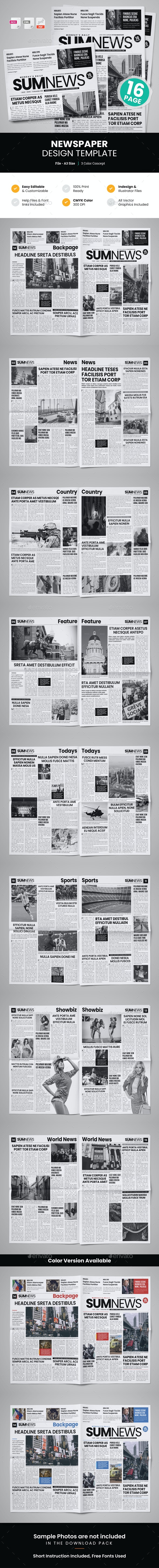 16 Page Newspaper Design v4 - Newsletters Print Templates