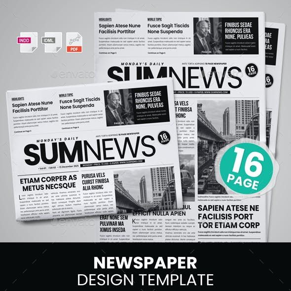 16 Page Newspaper Design v4