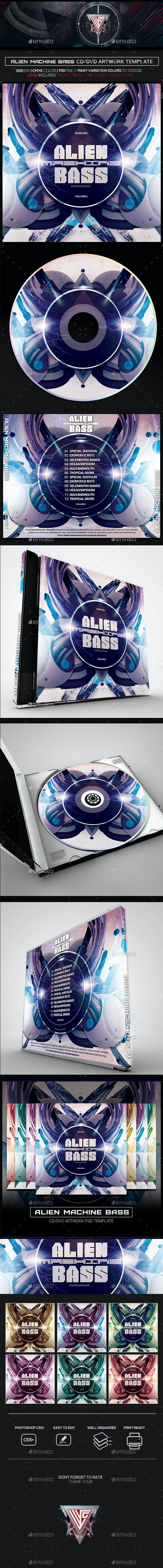 Alien Machine Bass Photoshop CD/DVD Template - CD & DVD Artwork Print Templates