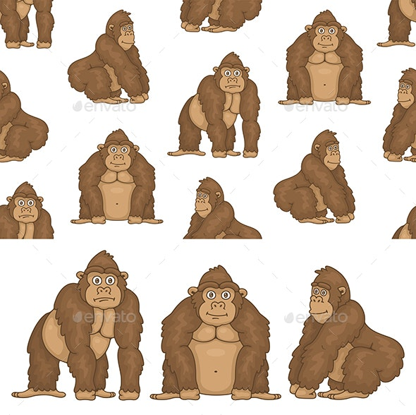 Set of Gorillas and Pattern - Animals Characters