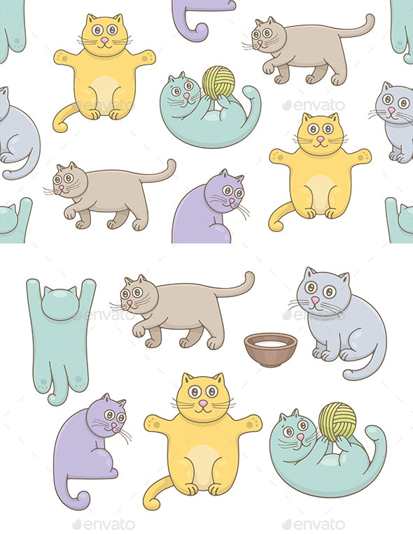 Set of Cats and Pattern - Animals Characters