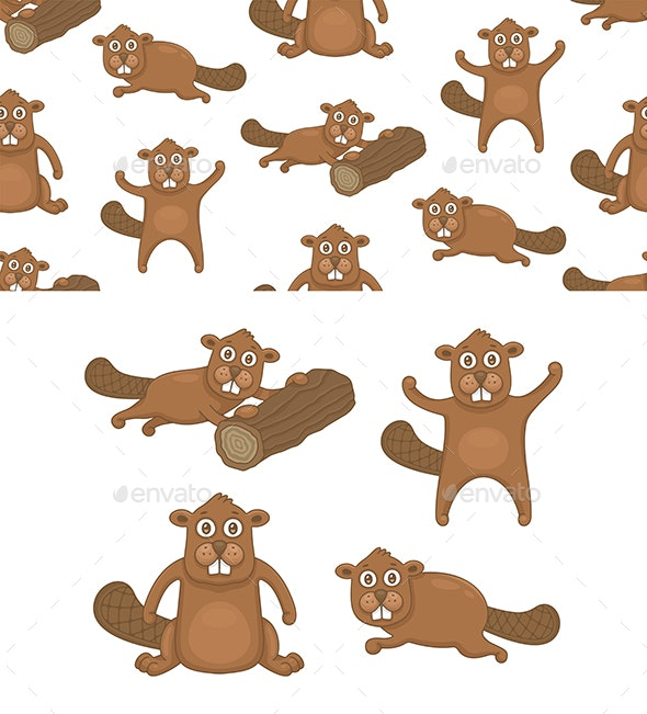 Set of Beavers and Pattern - Animals Characters