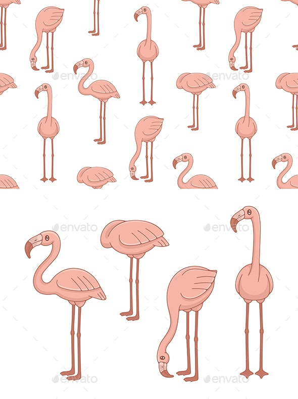 Set of Flamingos and Pattern - Animals Characters