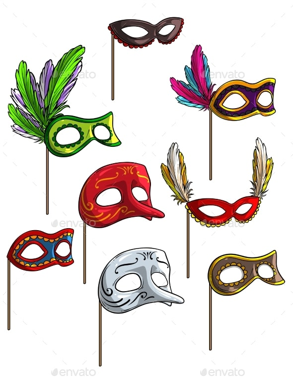 Cartoon Carnival or Venetian Face Mask Vector Set - Man-made Objects Objects