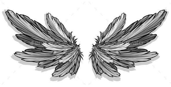 Graphic Detailed Angel or Bird Wings Vector - Miscellaneous Vectors