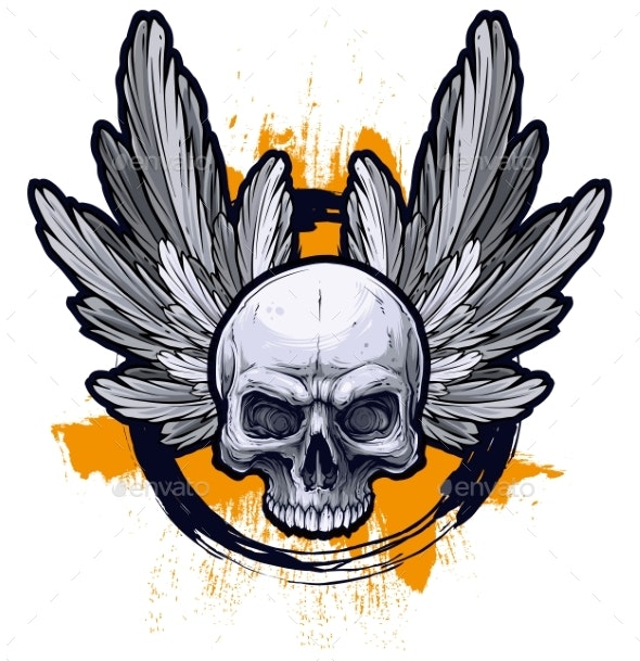 Detailed Graphic Human Skull with Wings - Decorative Symbols Decorative