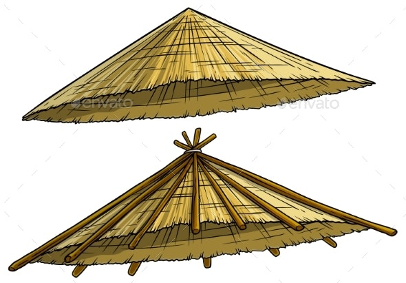 Cartoon Traditional Asian Conical Rain Hat - Man-made Objects Objects