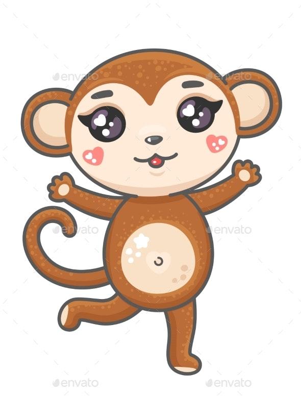Monkey Cartoon Vector Illustration - Animals Characters