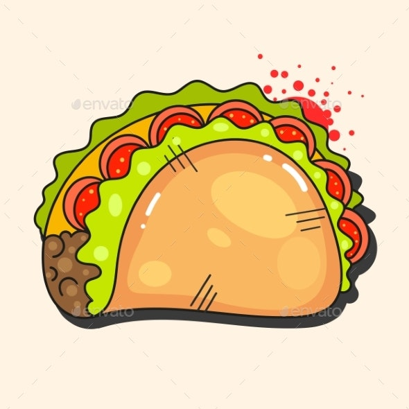 Retro Hot Mexican Taco Icon - Food Objects