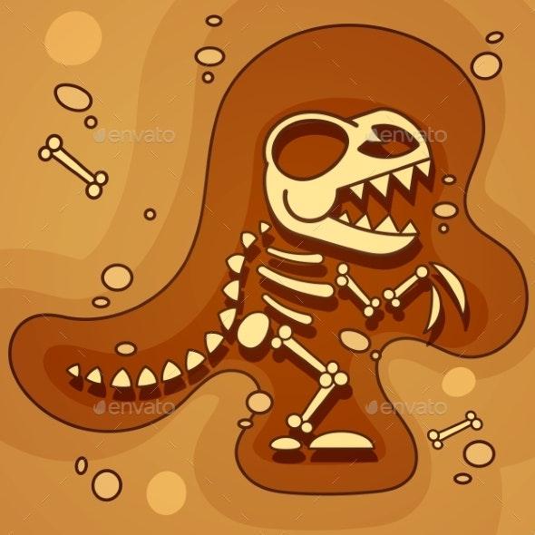 Archeology Dinosaur Skeleton in Ground - Miscellaneous Vectors
